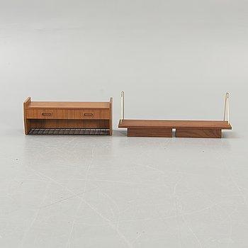 Shelves, so-called String variant, 2 pcs, teak, 1950s-60s.