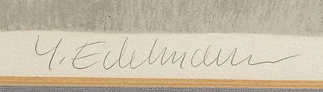 Yrjö edelmann, lithograph, signed. numbered 94/125.