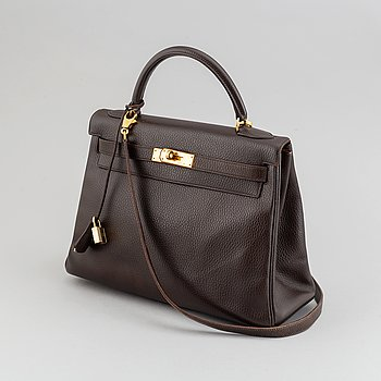 Hermès, a chocolate leather 'Kelly' handbag, 1995.