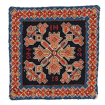 A cushion, embroidered, ca 42 x 40-41 cm, signed and dated HI NG 1820, Scania.