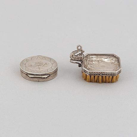 A silver box by carl fredrik lilja, karlskrona, 1842. brush included.