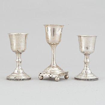 Two silver cups by Anders Gustaf Carlberg, Eksjö, 1850.