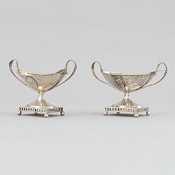 A pair of silver salt cellers by Gustaf Georg Rehnberg, 1799.