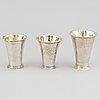 Three beakers, silver, 18th century, including mattias forswall, uppsala 1775, and johan lorenz starin, stockholm, 1750.