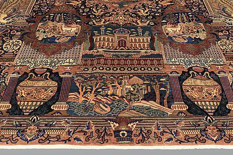A carpet, figural kashmar, ca 389 x 301 cm.