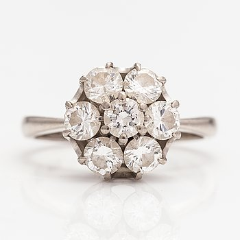 An 18K white gold ring with diamonds ca. 1.47 ct in total. Soviet union.