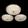 Three 1970's ceiling lights.