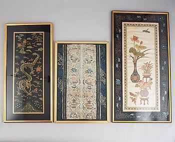A group of Chinese silk embroideries, late Qing dynasty. Framed.