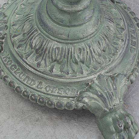 An early 20th century cast iron garden table from skoglunnd & olson, gefle.