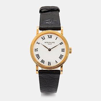 """Patek Philippe, Calatrava, """"Clous de Paris"""", wristwatch, 25 mm."""