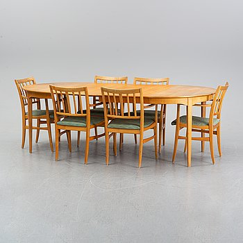Carl Malmsten, a dining table and six armchairs, Waggeryds Möbelfabrik AB.
