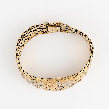 Armband, trefärgat guld.