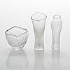 Tapio wirkkala, a set of three, small line cut art glass objects, signed, iittala mid-20th century.