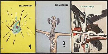 Salamander, tidskrift med originalgrafik, nr I-III (allt som utkom) Malmö 1955-56.