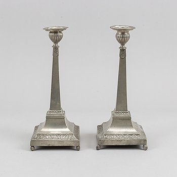 A pair of pewter candle sticks by Petter Höijer, begining of the 19th century.