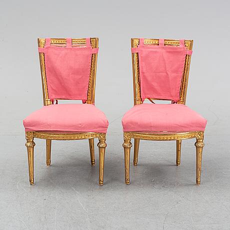 Stolar, ett par, gustavianska stockholmsarbeten, 1700-talets andra hälft.