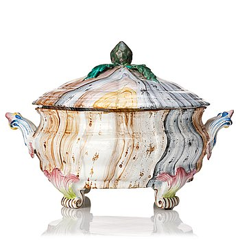 331. A Marieberg faux marble faience tureen with cover, Sweden, 18th Century.