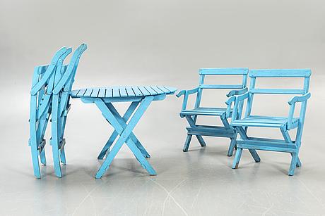 Garden furniture, 5 dlr, mid-20th century.