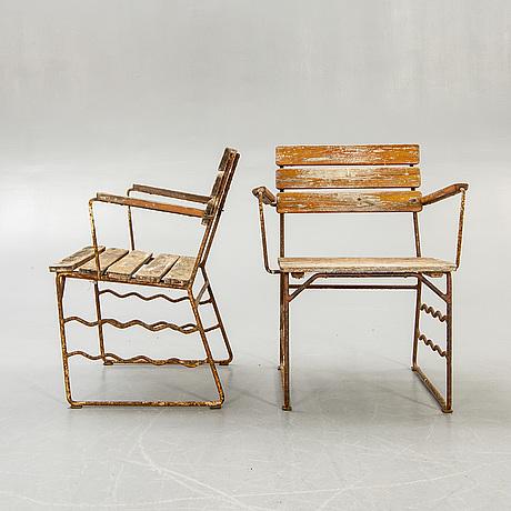Garden chairs, a pair, slöjdprodukter bjärnum, 1940s-50s.