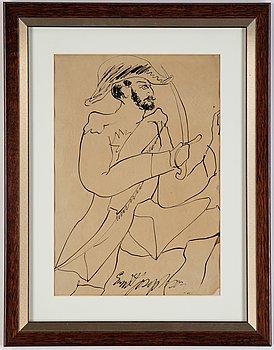 Ernst Josephson, ink wash, signed.