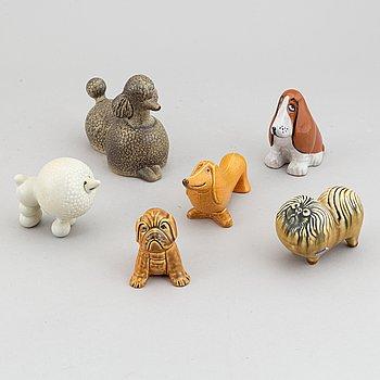 Lisa Larson, six stoneware figurines, for Gustavsberg and K-studion.