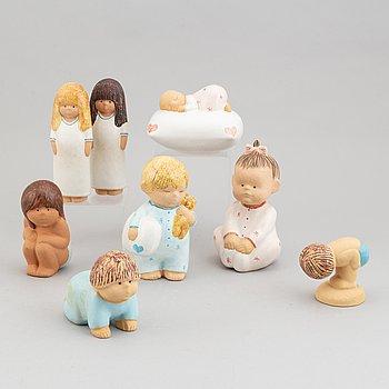 Lisa Larson, eight stoneware figurines, seven for K-Studion, Gustavsberg.