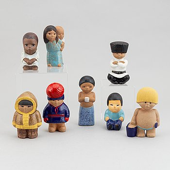 "Lisa Larson, eight stoneware figurines from the series ""All världens barn"" for Gustavsberg."