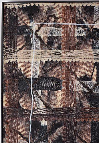 Karl norin, syntetic fur, wax, epoxy and wood, signed and dated 2013 on verso.