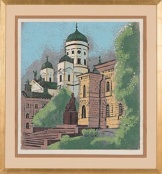 Voitto Jalmari Vikainen, woodcut and mixed media, signed and dated -69, numbered T.p.l'a 12/20.