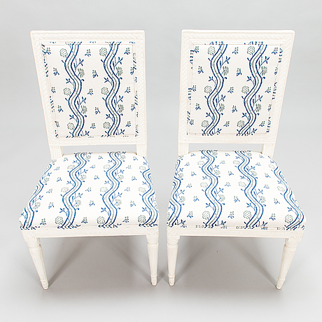 A pair of swedish late gustavian chairs from around the turn of the 18th century.