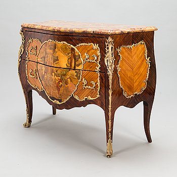 A chest of drawers plaque marked Les fils d'Alfred Wimphen Paris, early 20th century.