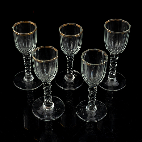 Five antique wine glasses, first half/mid 19th century.