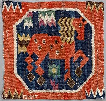"Märta Måås-Fjetterström, ""Röd häst"", a textile, ca 37,5 x 38,5 cm, signed AB MMF."
