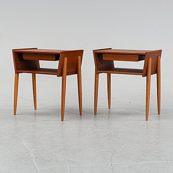 A pair teak of bedside tables, 1950/60s.