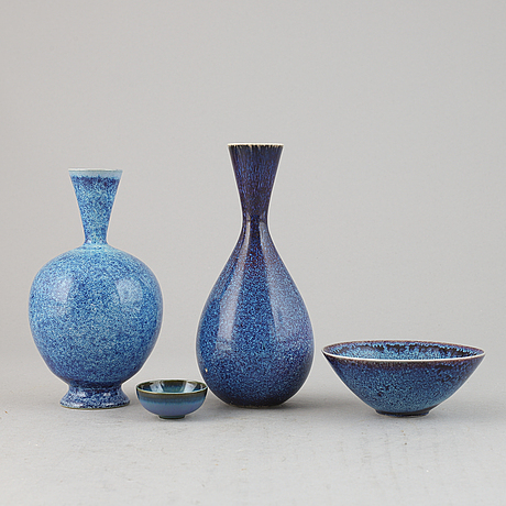 Sven wejsfelt, a set of two stoneware vases, a bowl and a miniature bowl from gustavsbergs studio.