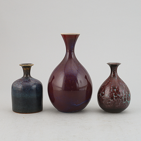Sven wejsfelt, a set of three stoneware vases, gustavsbergs studio.