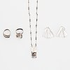 Lapponia, necklace, earrings and two rings, silver.