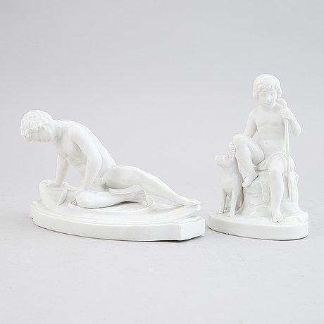 Two parian figurines after 'the dying gaul' and 'shepherd boy with dog', 20th century.