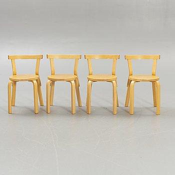 Alvar Aalto, 4 chairs, model 68, Artek, Finland.