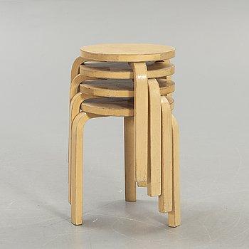 Alvar Aalto, 4 stools, model 60, Artek.