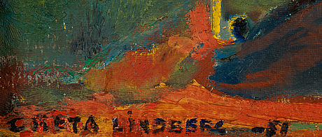 Greta lindberg, oil on board, signed and dated -51.