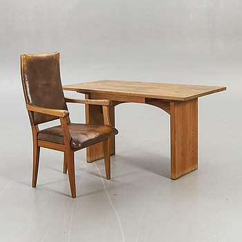 Carl Malmsten, table, Swedish pine, armchair, mid-20th century.