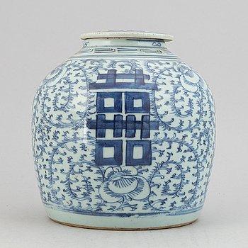 Kruka med lock, porslin. Qingdynastin, 1800-tal.