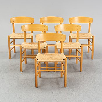 "A set of six model J39 'Folkestolen"" by Børge Mogensen for FDB furniture, designed 1947."