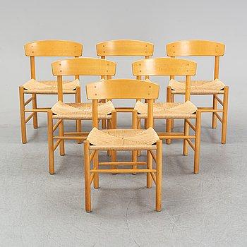 """Børge Mogensen, stolar, 6 st, modell J39 """"Folkestolen"""", FDB möbler, formgiven 1947."""