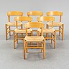 """A set of six model j39 'folkestolen"""" by børge mogensen for fdb furniture, designed 1947."""