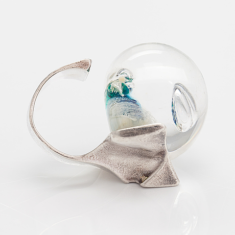 """Björn weckström, """"pertified lake"""", a sterling silver and acrylic ring. lapponia 1973."""