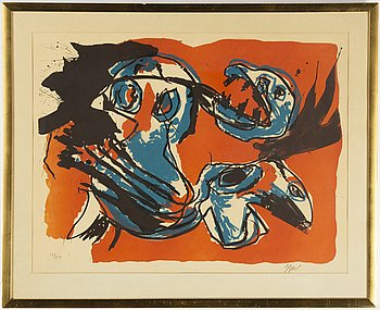Karel Appel, lithograph in colors, signed and numbured 12/80.