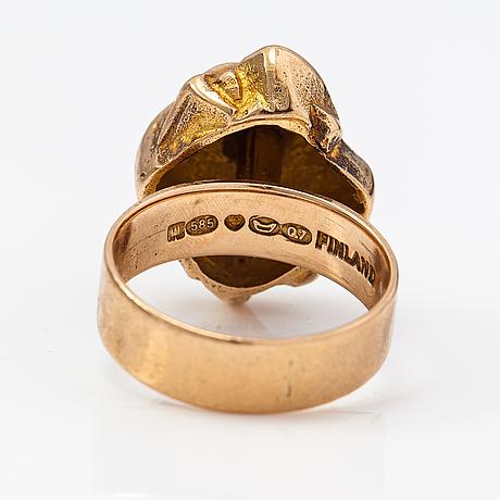 "Björn weckström, a 14k gold ring ""golden geranium"". lapponia 1969."