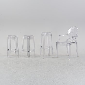 Philippe Starck, an armchair 'Louis ghost' and a set of three stools 'Charles ghost', for Kartell.